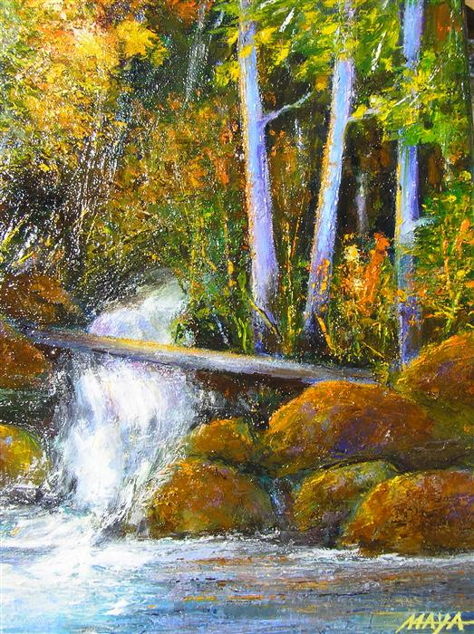 Original art for sale at UGallery.com | Autumn Brook by MAYA HENAFF | $500 | Oil painting | 14' h x 11' w | http://www.ugallery.com/oil-painting-autumn-brook