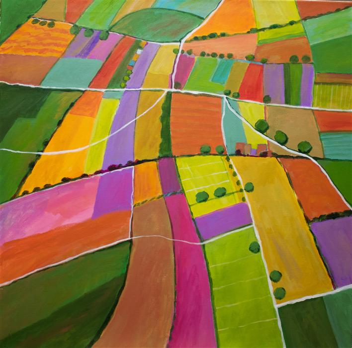 Original art for sale at UGallery.com | Summer Fields by TONI SILBER-DELERIVE | $2,625 | Acrylic painting | 30' h x 30' w | http://www.ugallery.com/acrylic-painting-summer-fields-43663