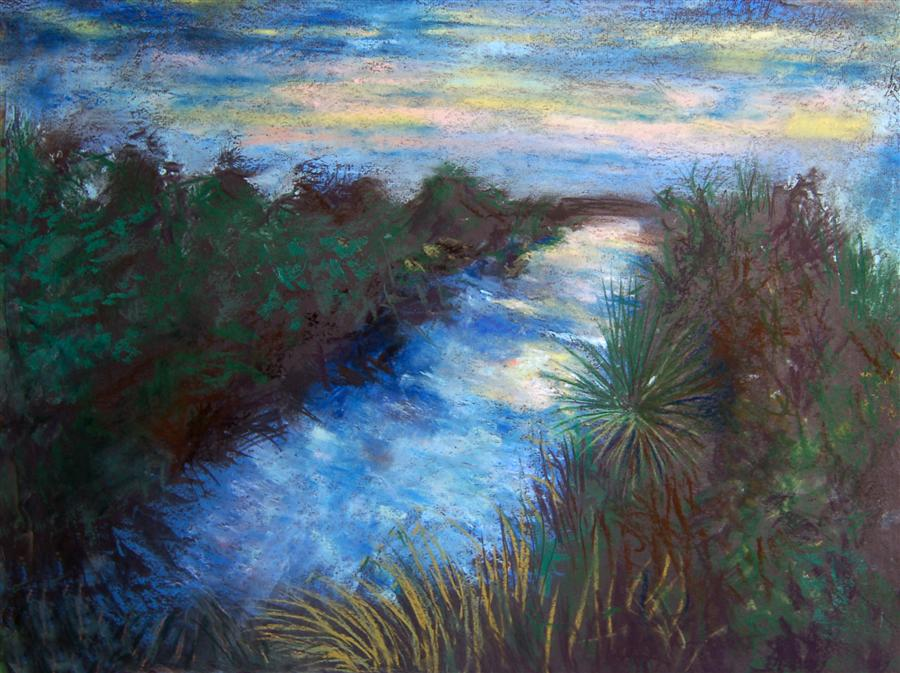Original art for sale at UGallery.com | Twilight in Kalakoura by MARIA TSAGURIYA | $525 | Pastel artwork | 19' h x 25' w | http://www.ugallery.com/pastel-artwork-twilight-in-kalakoura