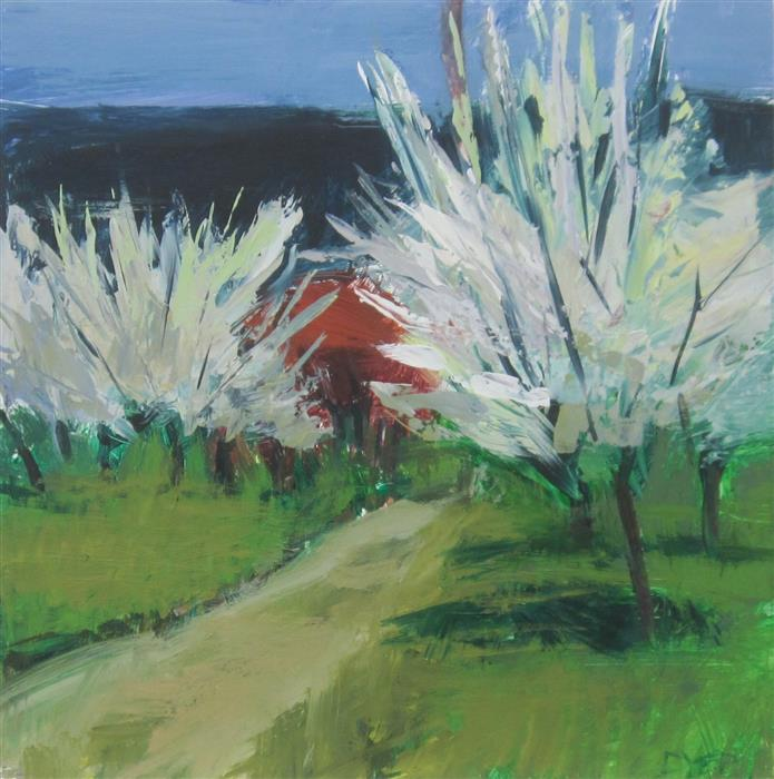 Discover Original Art by Janet Dyer | Blossoming Trees and Path, Provence acrylic painting | Art for Sale Online at UGallery