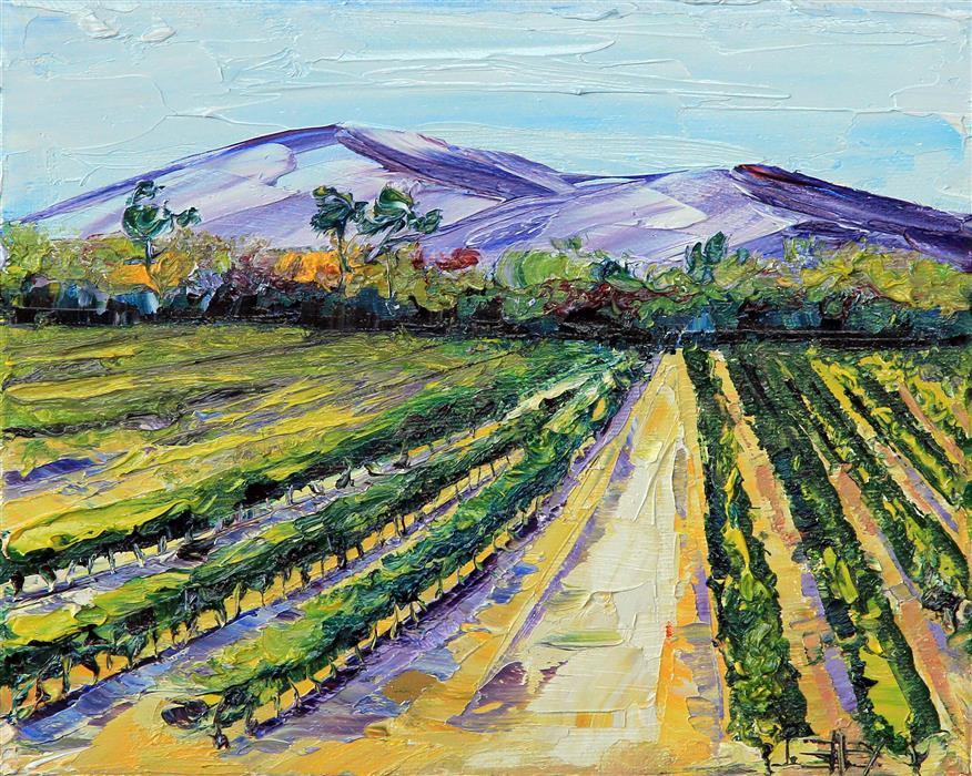 Original art for sale at UGallery.com | Wine Country Vines by LISA ELLEY | $300 | Oil painting | 8' h x 10' w | http://www.ugallery.com/oil-painting-wine-country-vines