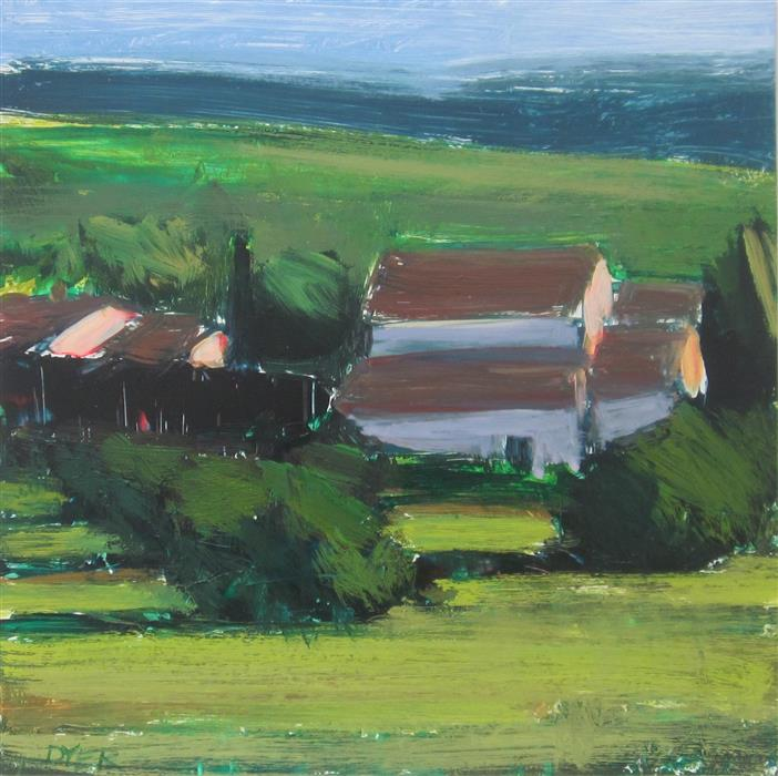 Discover Original Art by Janet Dyer | View from Gîte acrylic painting | Art for Sale Online at UGallery