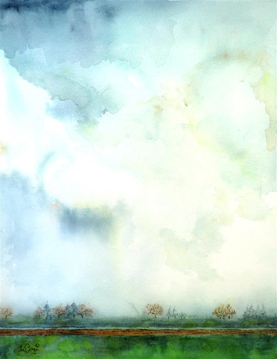 Discover Original Art by Nancy Muren | Misty Morning watercolor painting | Art for Sale Online at UGallery
