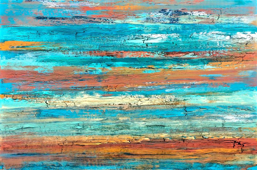 Original art for sale at UGallery.com | Caught in a Daydream by ALICIA DUNN | $2,525 | Mixed media artwork | 40' h x 60' w | http://www.ugallery.com/mixed-media-artwork-caught-in-a-daydream