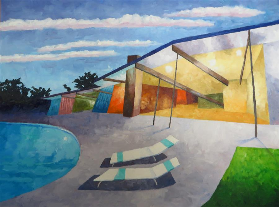 Original art for sale at UGallery.com | Eichler #2 by MITCHELL FREIFELD | $2,275 | Oil painting | 30' h x 40' w | http://www.ugallery.com/oil-painting-eichler-2