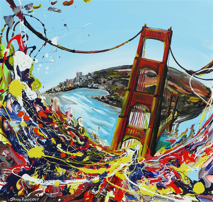 Discover Original Art by Piero Manrique | San Fransisco Bridge acrylic painting | Art for Sale Online at UGallery