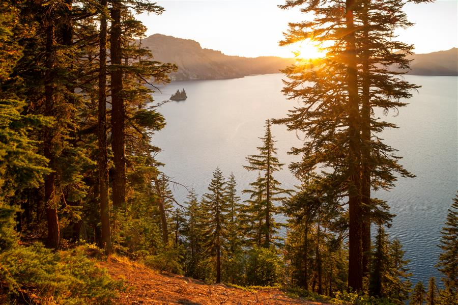 Original art for sale at UGallery.com | Phantom Island Sunset - Crater Lake National Park Oregon by BRIAN HARIG | $125 |  | ' h x ' w | http://www.ugallery.com/photography-phantom-island-sunset-crater-lake-national-park-oregon
