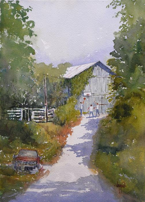 Original art for sale at UGallery.com | Afternoon Chores by JUDY MUDD | $500 | Watercolor painting | 14' h x 10' w | http://www.ugallery.com/watercolor-painting-afternoon-chores