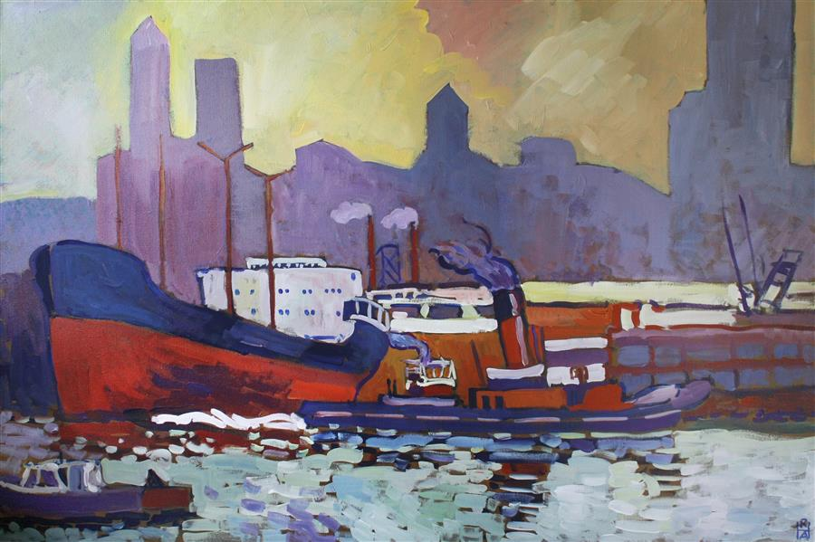 Original art for sale at UGallery.com | Waterfront by ROBERT HOFHERR | $1,100 | Acrylic painting | 24' h x 36' w | http://www.ugallery.com/acrylic-painting-waterfront