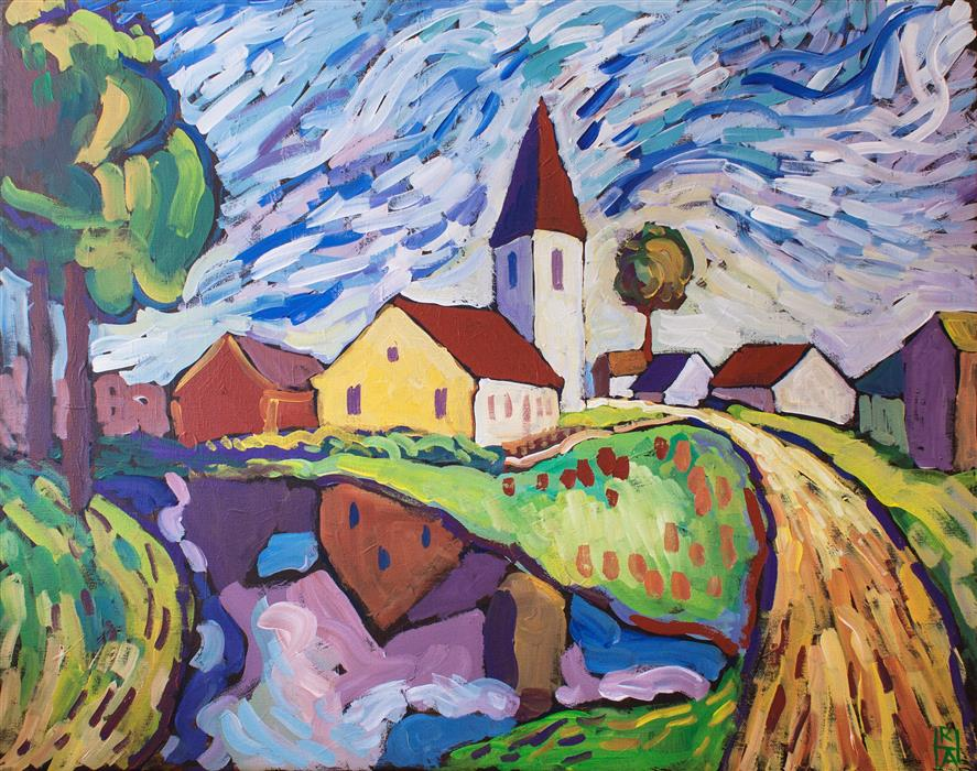 Original art for sale at UGallery.com | Country Church by ROBERT HOFHERR | $1,000 | Acrylic painting | 24' h x 30' w | http://www.ugallery.com/acrylic-painting-country-church