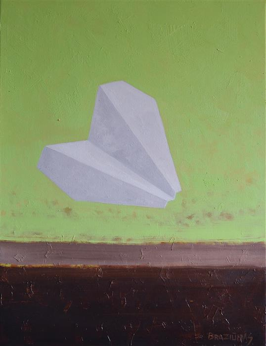 Discover Original Art by Arturas Braziunas | Small Paper Airplane oil painting | Art for Sale Online at UGallery