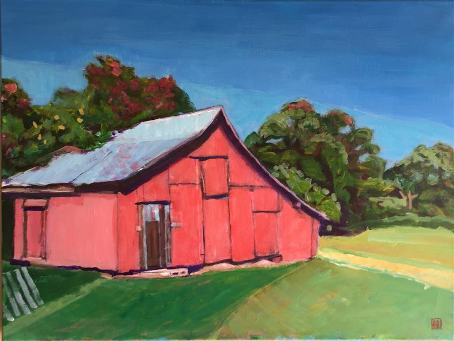 Discover Original Art by Laura (Yi Zhen) Chen | Red Barn acrylic painting | Art for Sale Online at UGallery
