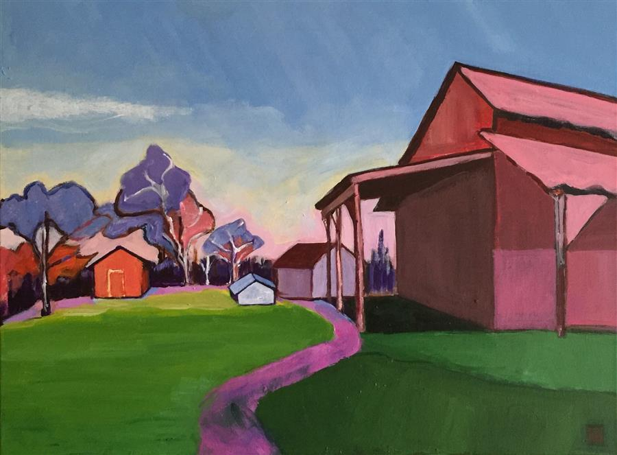 Original art for sale at UGallery.com | Colorful Barns by LAURA (YI ZHEN) CHEN | $725 | Acrylic painting | 18' h x 24' w | http://www.ugallery.com/acrylic-painting-colorful-barns