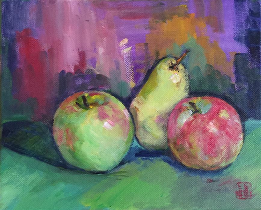 Original art for sale at UGallery.com | Still Life Apples and Pear by LAURA (YI ZHEN) CHEN | $300 | Acrylic painting | 8' h x 12' w | http://www.ugallery.com/acrylic-painting-still-life-apples-and-pear