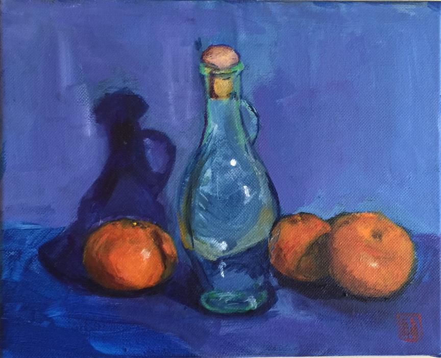 Original art for sale at UGallery.com | Still Life Oranges with Blue Background by LAURA (YI ZHEN) CHEN | $300 | Acrylic painting | 8' h x 12' w | http://www.ugallery.com/acrylic-painting-still-life-oranges-with-blue-background