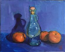 Impressionism art,Still Life art,Cuisine art,Representational art,acrylic painting,Still Life Oranges with Blue Background