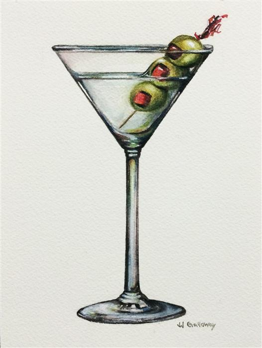 Discover Original Art by JJ Galloway | Martini watercolor painting | Art for Sale Online at UGallery