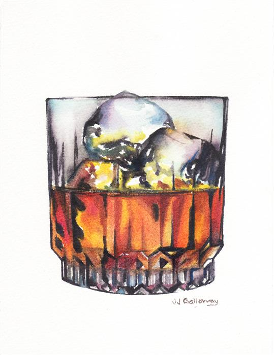 Original art for sale at UGallery.com | Scotch on the Rocks by JJ GALLOWAY | $150 | Watercolor painting | 8' h x 6' w | http://www.ugallery.com/watercolor-painting-scotch-on-the-rocks