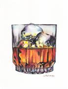 Pop art,Cuisine art,Representational art,watercolor painting,Scotch on the Rocks