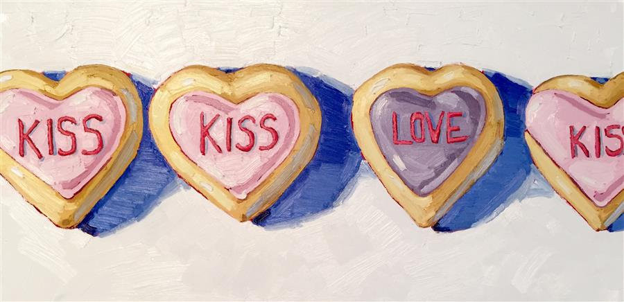 Discover Original Art by Nicole Newsted | Kiss Kiss oil painting | Art for Sale Online at UGallery