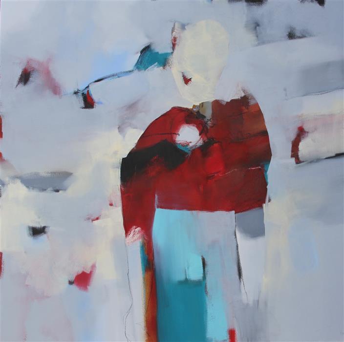 Discover Original Art by Paule Dubois Dupuis | Mon Manteau Rouge oil painting | Art for Sale Online at UGallery