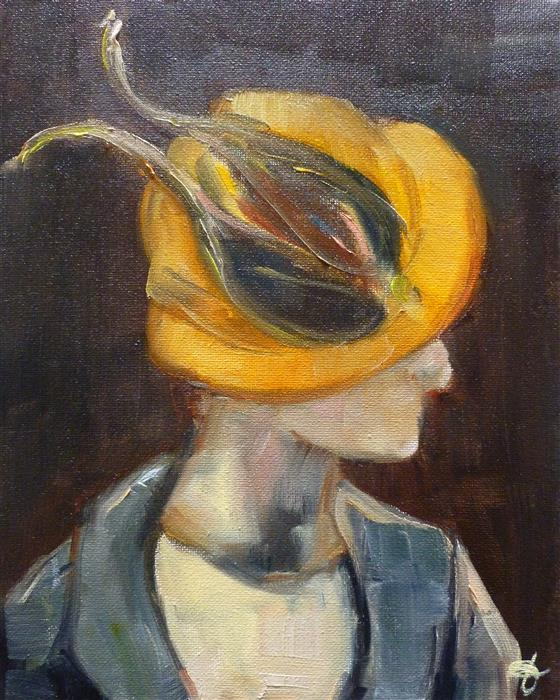 Original art for sale at UGallery.com | Dancing Yellow Bird by JENNY HAMBLETON | $325 | Oil painting | 10' h x 8' w | http://www.ugallery.com/oil-painting-dancing-yellow-bird