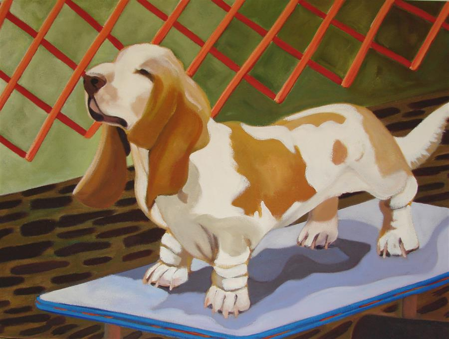 Original art for sale at UGallery.com | Basset Hound by HELENE ENGLISH | $1,675 | Oil painting | 18' h x 24' w | http://www.ugallery.com/oil-painting-basset-hound