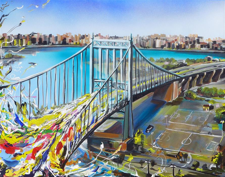 Original art for sale at UGallery.com | Triboro Queens by PIERO MANRIQUE | $1,000 | Acrylic painting | 24' h x 30' w | http://www.ugallery.com/acrylic-painting-triboro-queens