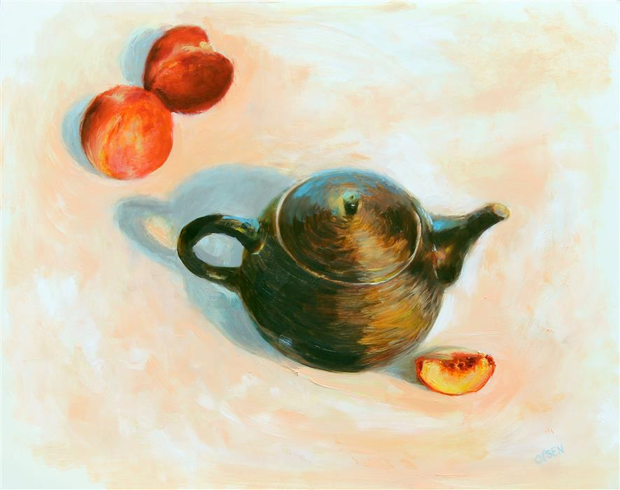 Discover Original Art by Christy Olsen | Peaches and Cream oil painting | Art for Sale Online at UGallery