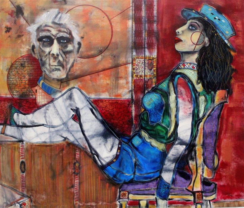 Original art for sale at UGallery.com | Old Man Take a Look at My Life by PENELOPE PRZEKOP | $3,700 | Acrylic painting | 34' h x 40' w | http://www.ugallery.com/acrylic-painting-old-man-take-a-look-at-my-life