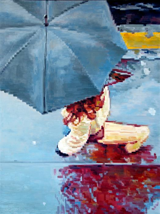 Original art for sale at UGallery.com | Woman under Umbrella Running in Paris Rain by WARREN KEATING | $3,250 | Oil painting | 40' h x 30' w | http://www.ugallery.com/oil-painting-woman-under-umbrella-running-in-paris-rain