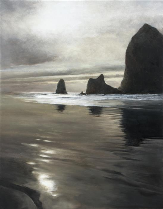 Original art for sale at UGallery.com | Beach Reflections by DON BISHOP | $2,450 | Oil painting | 40' h x 30' w | http://www.ugallery.com/oil-painting-beach-reflections-44084