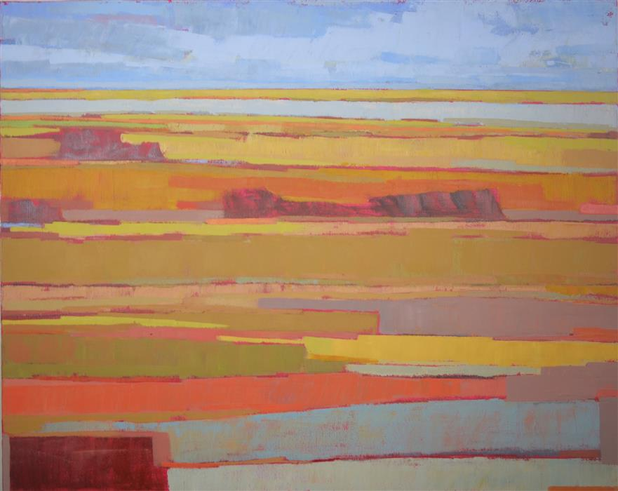 Discover Original Art by Srinivas Kathoju | Fields and the Lake 1 oil painting | Art for Sale Online at UGallery