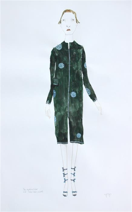 Original art for sale at UGallery.com | Moon Coat by FRIDA WANNERBERGER | $325 | Gouache painting | 16.5' h x 11.8' w | http://www.ugallery.com/gouache-painting-moon-coat