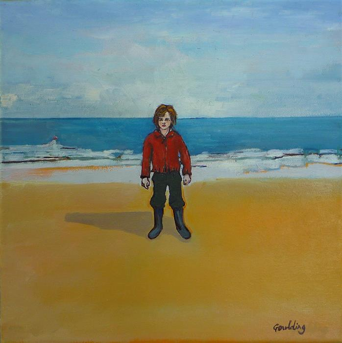 Original art for sale at UGallery.com | A Boy on a Beach by JULIE GOULDING | $425 | Oil painting | 12' h x 12' w | http://www.ugallery.com/oil-painting-a-boy-on-a-beach