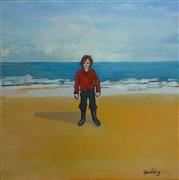 People art,Seascape art,Representational art,Vintage art,oil painting,A Boy on a Beach