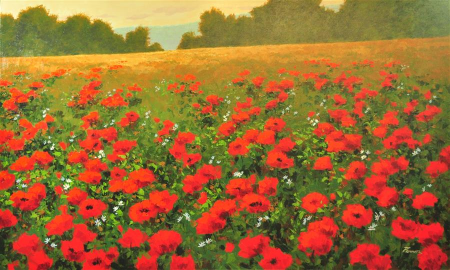 Discover Original Art by Robert Pennor | Red Poppies 1 acrylic painting | Art for Sale Online at UGallery