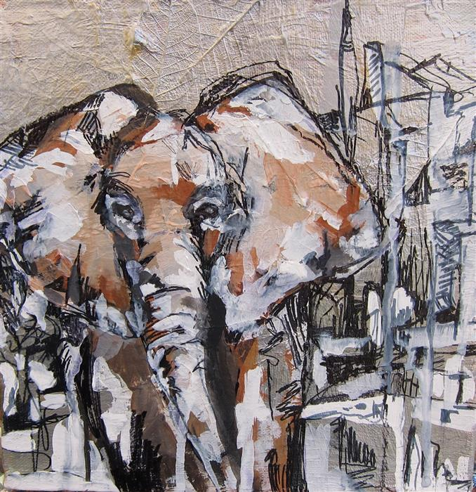 Original art for sale at UGallery.com | Cherished Elephant Part I by COLETTE WIRZ NAUKE | $300 | Acrylic painting | 9' h x 9' w | http://www.ugallery.com/acrylic-painting-cherished-elephant-part-i