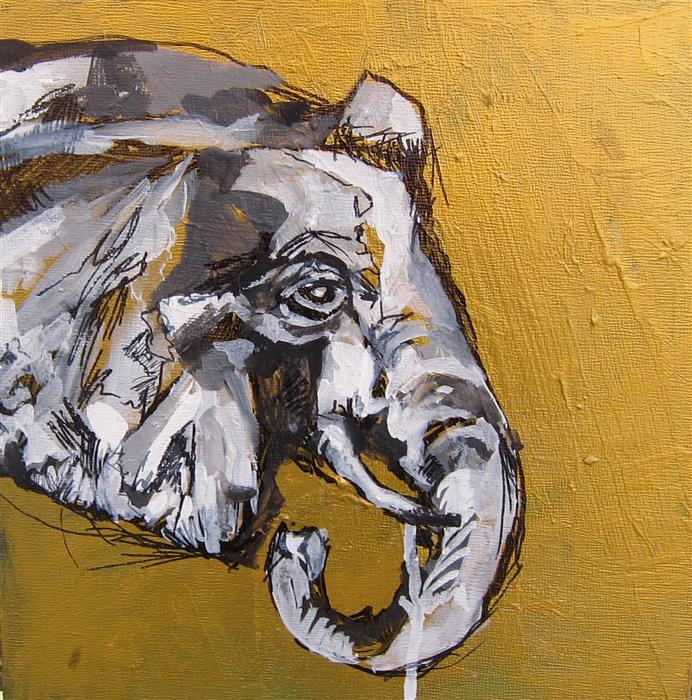 Original art for sale at UGallery.com | Cherished Elephant Part II by COLETTE WIRZ NAUKE | $300 | Acrylic painting | 10' h x 10' w | http://www.ugallery.com/acrylic-painting-cherished-elephant-part-ii
