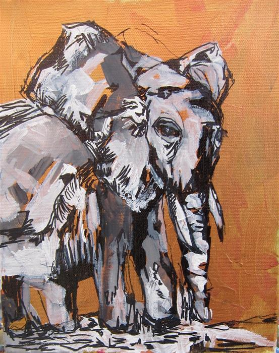 Original art for sale at UGallery.com | Cherished Elephant Part III by COLETTE WIRZ NAUKE | $300 | Acrylic painting | 10' h x 8' w | http://www.ugallery.com/acrylic-painting-cherished-elephant-part-iii