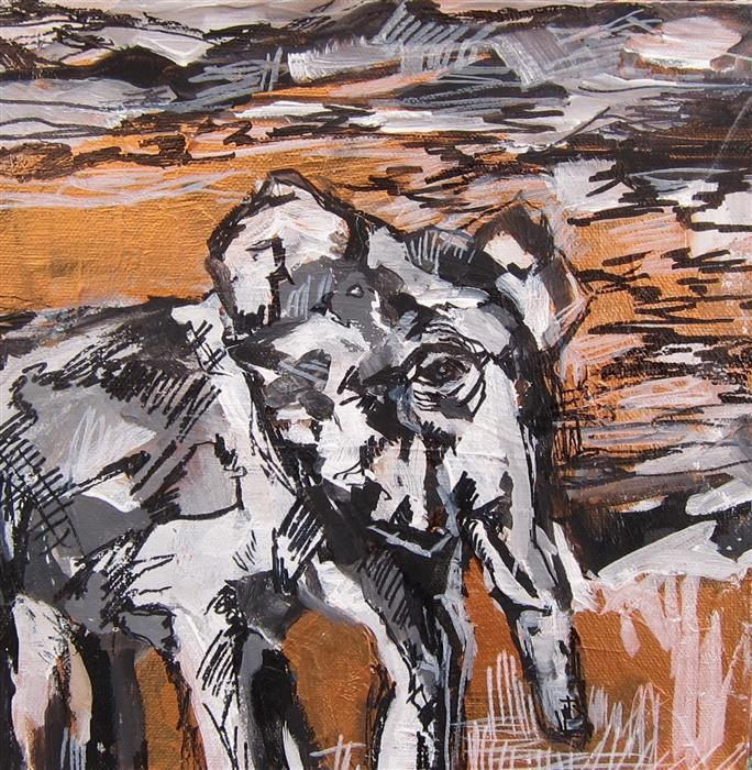 Original art for sale at UGallery.com | Cherished Elephant Part IV by COLETTE WIRZ NAUKE | $300 | Acrylic painting | 9' h x 9' w | http://www.ugallery.com/acrylic-painting-cherished-elephant-part-iv