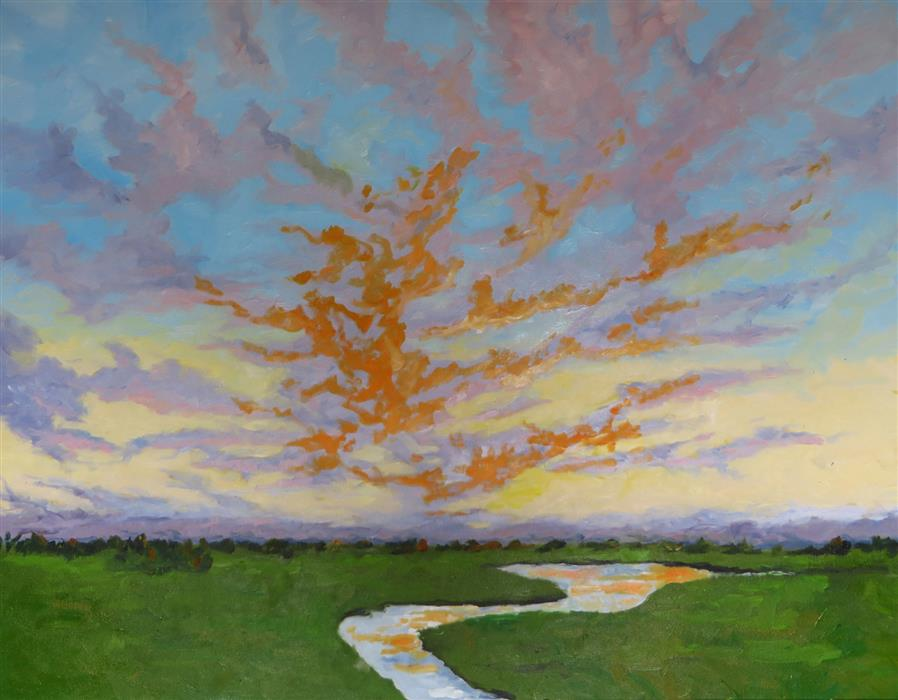 Discover Original Art by Mitchell Freifeld | Sauvie Island Sunset oil painting | Art for Sale Online at UGallery
