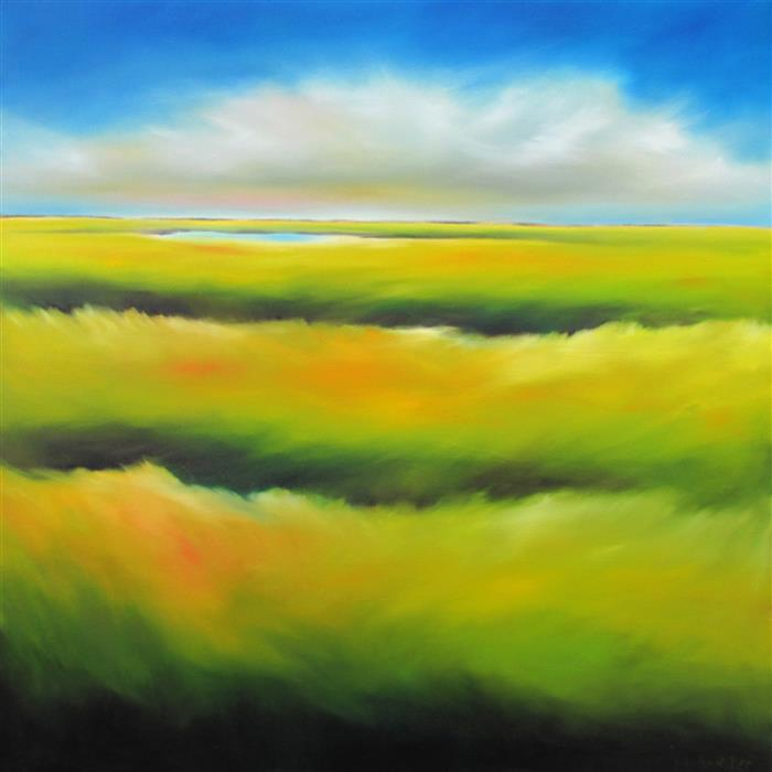 Original art for sale at UGallery.com | Marsh Colorscape by NANCY HUGHES MILLER | $900 | Oil painting | 24' h x 24' w | http://www.ugallery.com/oil-painting-marsh-colorscape