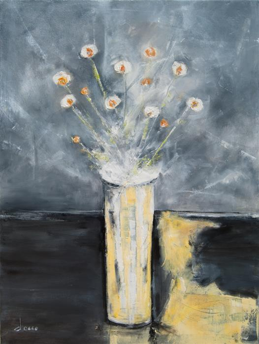 Original art for sale at UGallery.com | Arrangement in Gray 3 by ANNE DOSSO-POWELL | $2,550 | Oil painting | 40' h x 30' w | http://www.ugallery.com/oil-painting-arrangement-in-gray-3