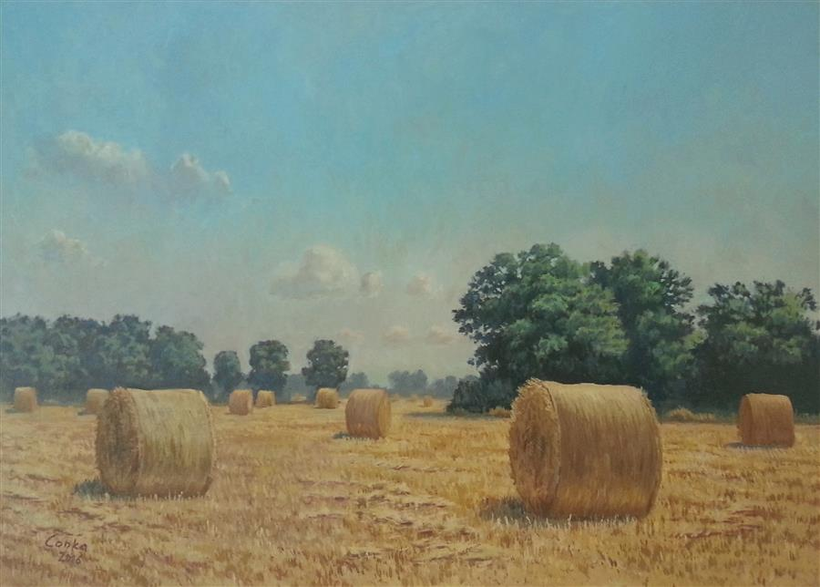 Discover Original Art by Stefan Conka | Midday with Bales oil painting | Art for Sale Online at UGallery