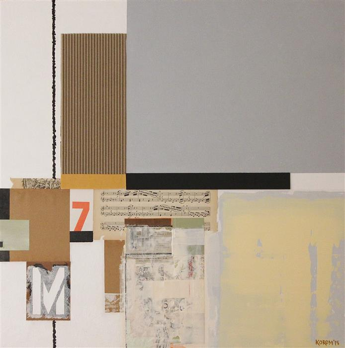Original art for sale at UGallery.com | Composition with a 7 by JOEY KOROM | $1,125 | Mixed media artwork | 30' h x 30' w | http://www.ugallery.com/mixed-media-artwork-composition-with-a-7
