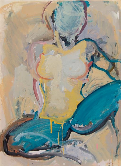 Original art for sale at UGallery.com | Untitled (Sitting) by STEPHEN POLING | $1,700 | Acrylic painting | 30' h x 22' w | http://www.ugallery.com/acrylic-painting-untitled-sitting