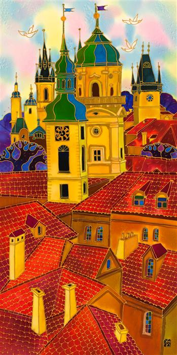 Original art for sale at UGallery.com | Red Roofs Prague 3 by YELENA SIDOROVA | $1,225 | Mixed media artwork | 36' h x 18' w | http://www.ugallery.com/mixed-media-artwork-red-roofs-prague-3