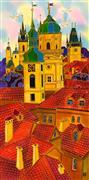 Architecture art,Fantasy art,Travel art,Representational art,mixed media artwork,Red Roofs Prague 3