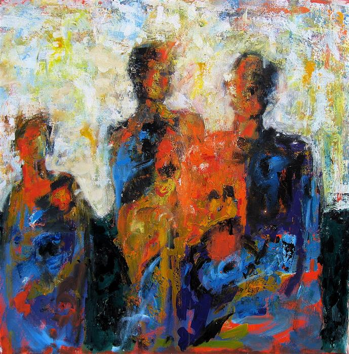 Original art for sale at UGallery.com | The Last Spectators by RON KLOTCHMAN | $2,175 | Acrylic painting | 36' h x 36' w | http://www.ugallery.com/acrylic-painting-the-last-spectators